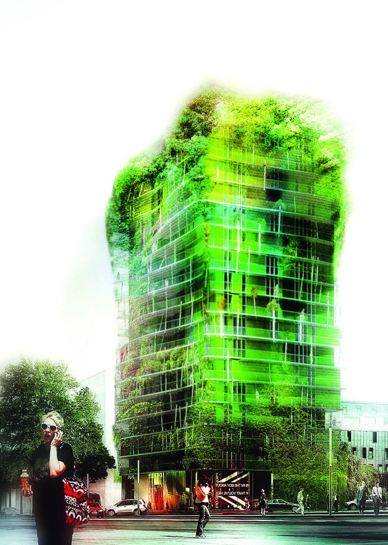 La tour de la Biodiversité d'Edouard François culminera à 50 mètres. Livraison prévue en 2015 dans le 13e arrondissement de Paris.