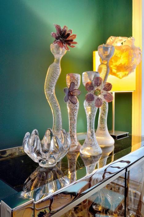 Bougeoirs en pâte de verre de Stella Cadente pour Salviati.