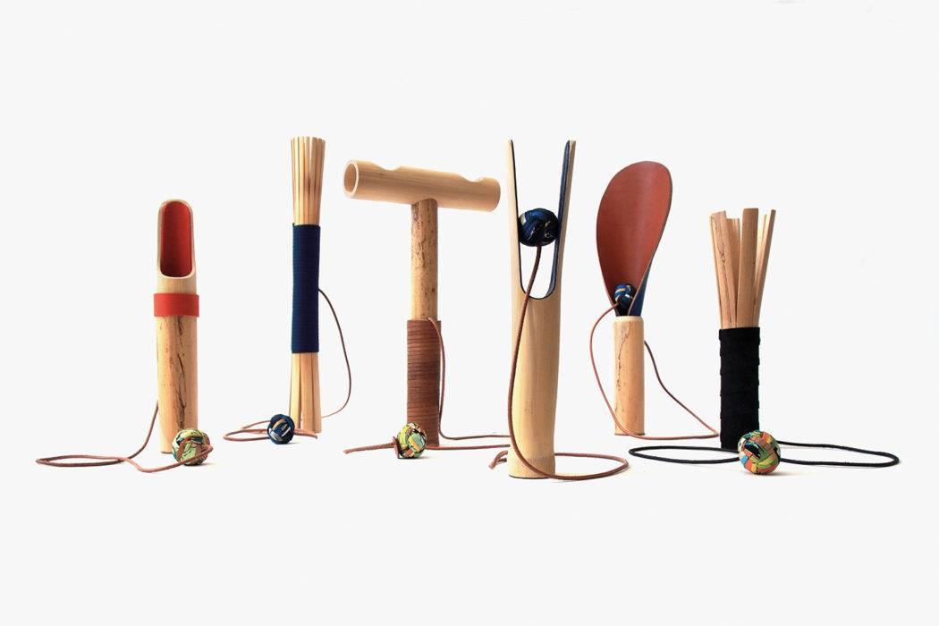Les objets ludiques en canne de Provence d'Antoine Boudin avec l'atelier Petit H d'Hermès.